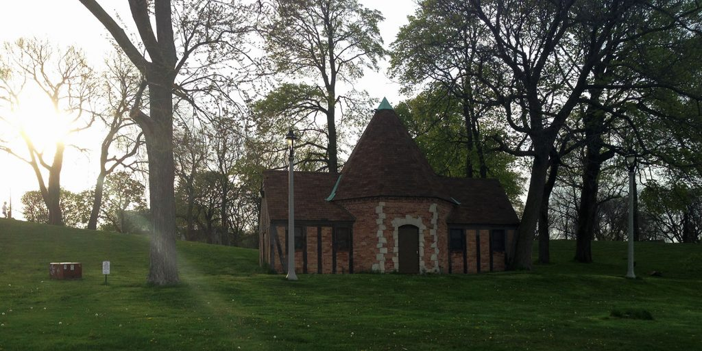What is the meaning of this German style looking building in a Milwaukee park? Hard to say - unless you're in need. As it turns out, it's a public restroom.