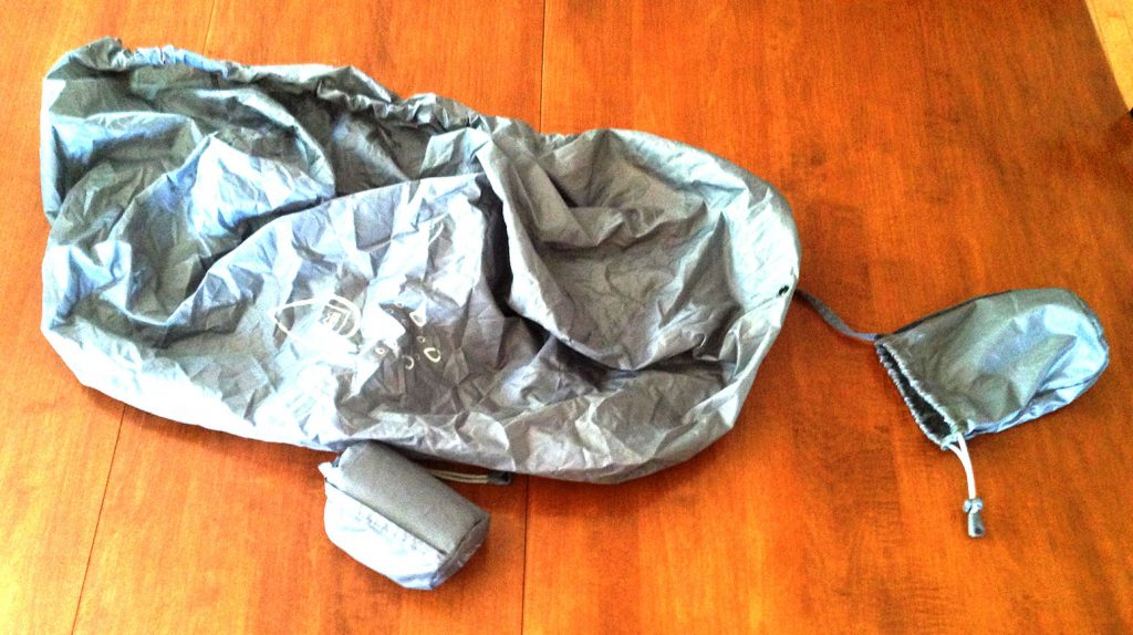 20L (packed) and 40L (unpacked) pack raincovers - the cover comes with an attached pack sack