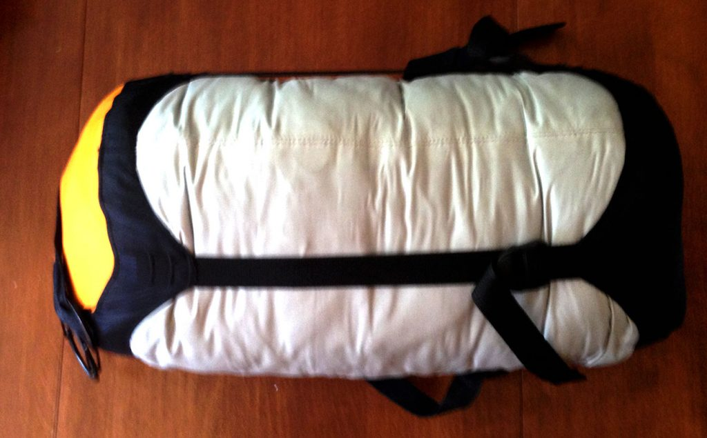 This waterproof stuffsack contains my heavy winter wool overcoat!