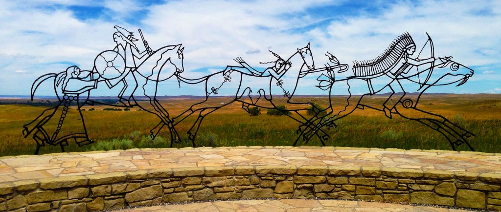 The Native American Memorial on the site of the Battle of Little Bighorn complements the Calvary Memorial