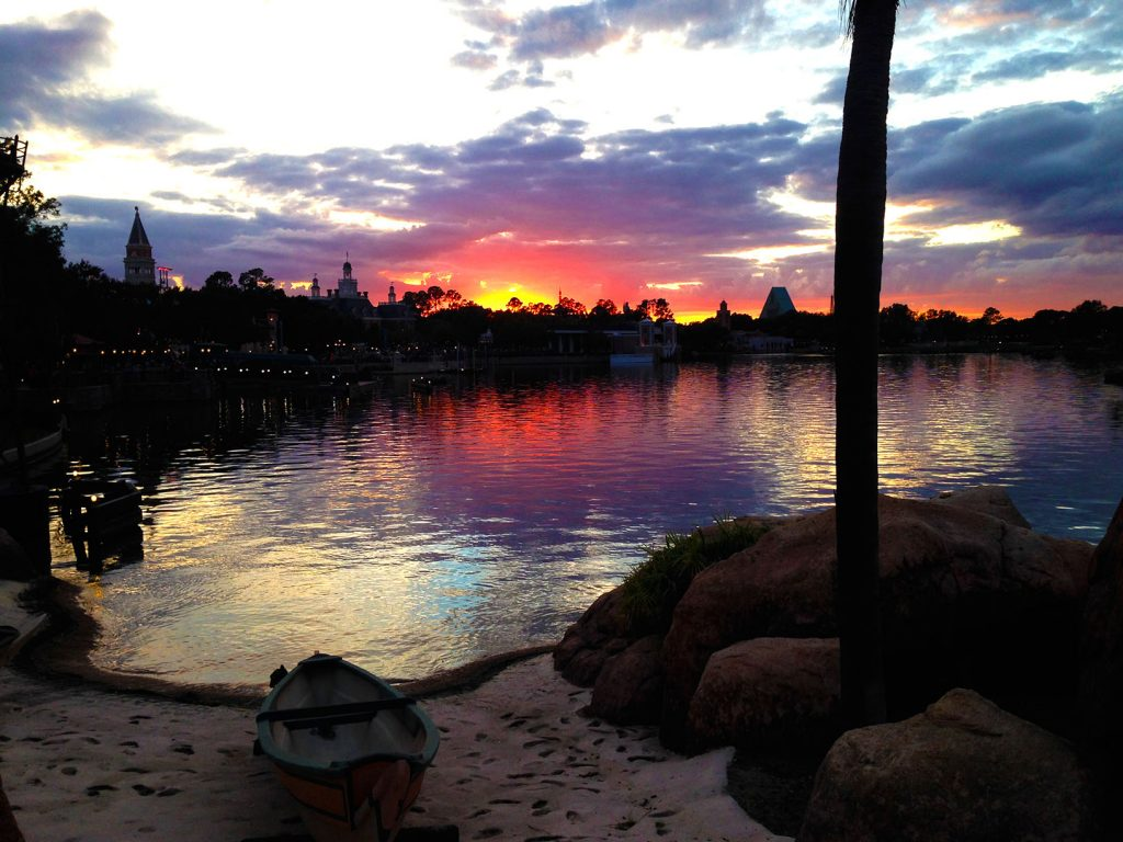 Like all vacations...this one comes to an end. Sunset on the World Showcase Lagoon, EPCOT.