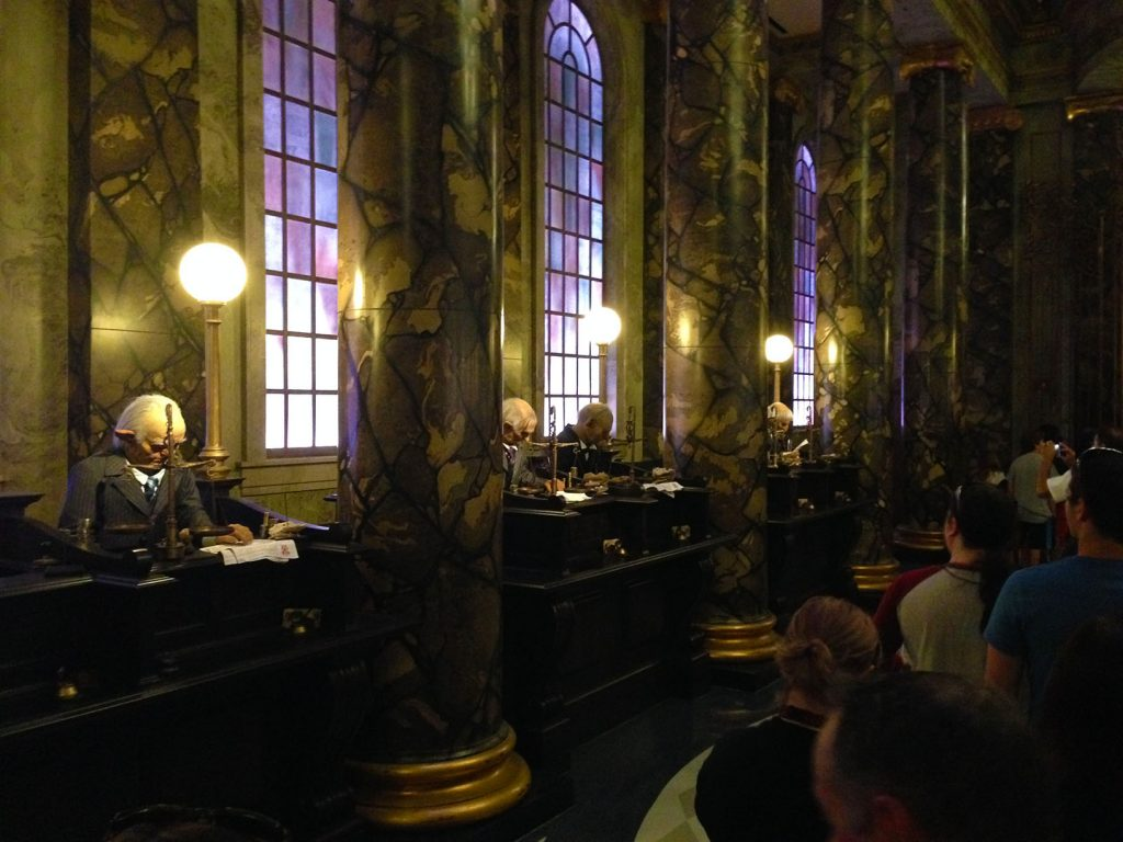 Animatronic Goblins in Gringotts. The engaging queue at Universal's Wizarding World of Harry Potter - Escape from Gringotts